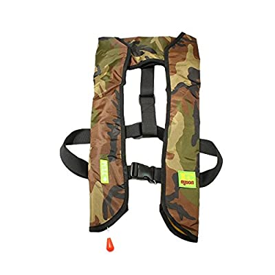 Lifesaving Pro Premium Quality Auto/Manual Inflatable Life Jacket Floating Vest Inflate Survival Aid PFD Basic, Green Cam