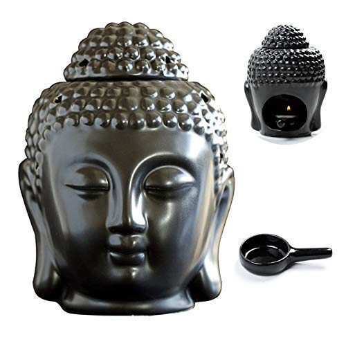 MEIRUIQI Wax Warmer Buddha Head Statue Essential Oil Burner Tart Burner Tealight Candle HolderTranslucent Ceramic for Great House Decoration (Black)