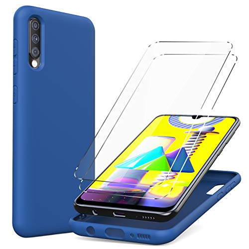 Oududianzi Silicona Líquida Funda Compatible con SamsungGalaxy A50/ A30s +[ 2 x Protector Pantalla] Carcasa Delgada de Goma Gel Suave, Anti-rasguños A Prueba de choques Case - Azul