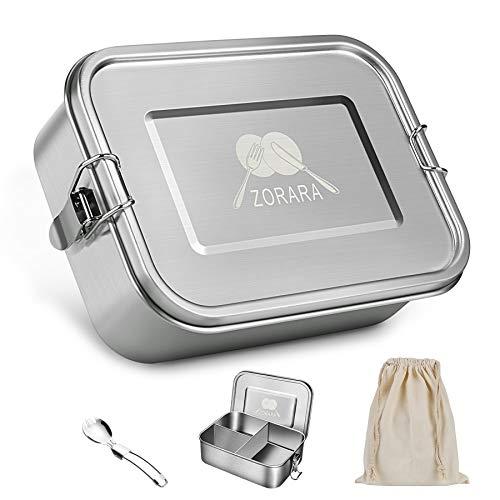 Zorara Edelstahl Brotdose, Lunchbox Edelstahl mit 3 fächern [1200ml], BPA-Frei Bento Box Kinder mit Gabel & Beutel, Metall Lunch Box Auslaufsicher Spülmaschinenfest für Kinder und Erwachsene