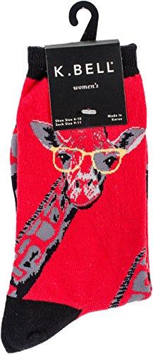K. Bell Socks Zoo Animals Crew - Calcetines para mujer, Jirafa (Rojo), Shoe Size: 4-10