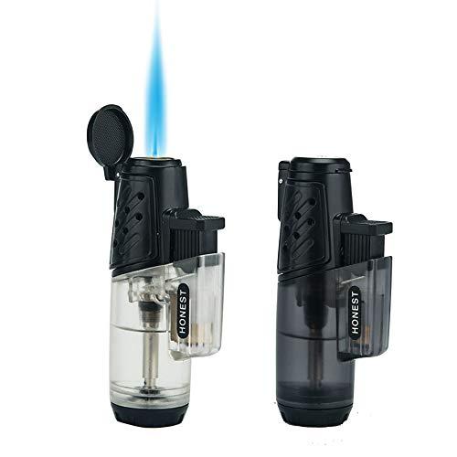 Encendedor a prueba de viento Turbo llama fuerte Gas Butano Quemador recargable Encendedor con accesorios de ventana de butano para hombres Paquete de 2 (paquete de 2 individuales) (Solo paquete de 2)