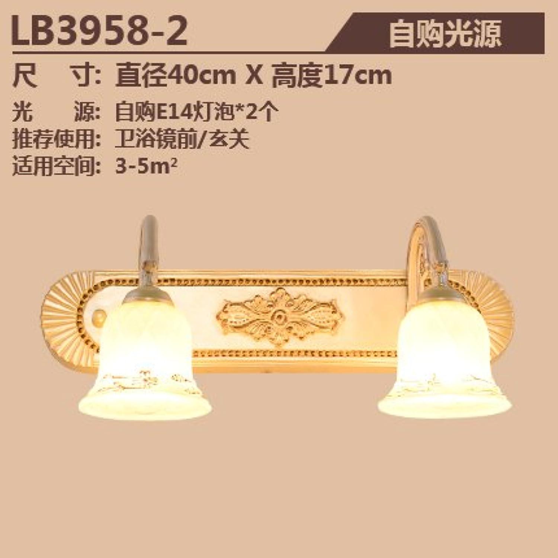 StiefelU LED Wandleuchte nach oben und unten Wandleuchten Antikes Glas Front-LED-Leuchte des Make-up-Spiegels grüne Badezimmer Spiegelschrank Badezimmer licht Wandleuchten, Dual Head