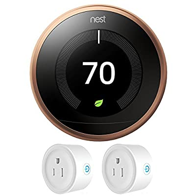 Nest T3021US Learning Thermostat 3rd Gen (Copper) + Deco Gear 2 Pack Wifi Smart Plug