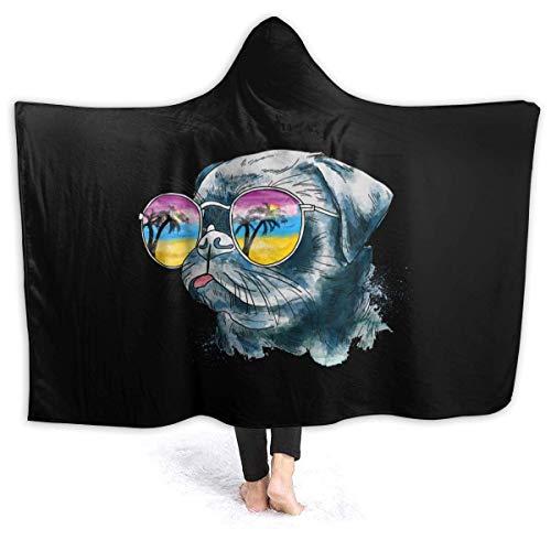 AEMAPE Bulldog de Acuarela en Gafas de Sol Manta con Capucha Mantas Suaves Manta de Tiro de Lana para niños 60x50in