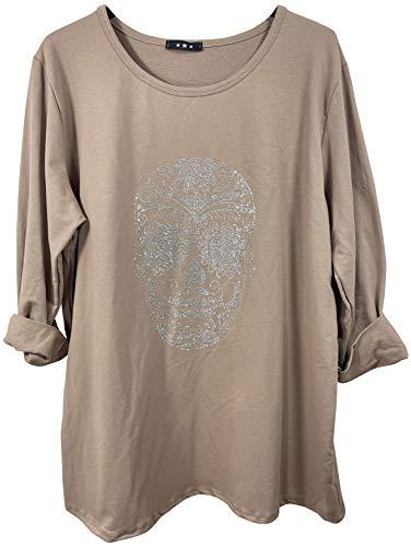 K-Milano Sudadera de algodón para mujer, cuello redondo, manga larga, diseño de calavera, fabricada en Italia beige 42/48 EU