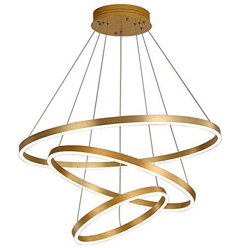 kzytamz LED Runde Pendelleuchte Kreise Ringe Hängelampe Dimmbare Acryl Pendelleuchte Wohnzimmer Kronleuchter Moderne Kreative Restaurantleuchte Lampen (Stil A, 40 + 60 + 80cm)