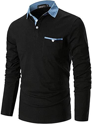 GNRSPTY Poloshirt Herren Langarm Basic Denim Nähen Casual Baumwolle Golf Tennis Poloshirts,Schwarz,L
