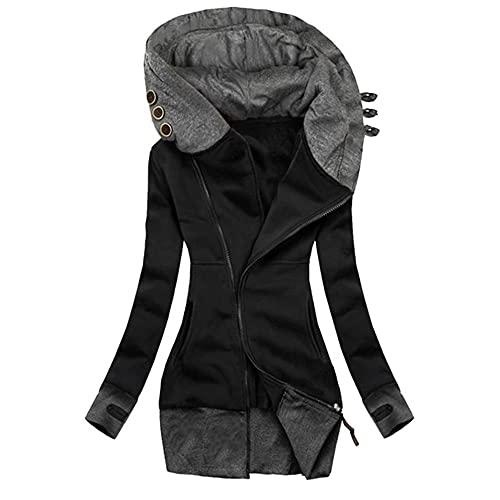 Casual mujer larga sudadera con capucha color sólido chaqueta delgada señoras abrigo de manga larga