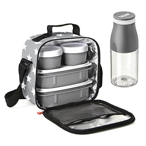 PracticFood Tatay Kit Urban Food Casual - Bolsa Térmica Porta Alimentos con Tapers Herméticos (Drink Stars Grey)