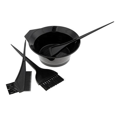 Harilla 4Pcs Hairdressing Brushes Bowl Combo Salon Hair Color Dye Tint DIY Tool Set Kit