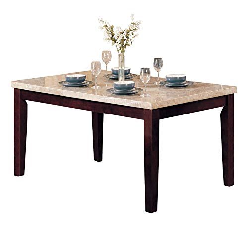 ACME Britney Walnut Dining Table with White Marble Top