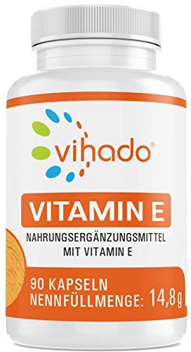 Vihado Vitamine E capsules | Bevat alle acht isomeren |  Plantaardig, lactose- en glutenvrij | Inhoud: 90 capsules
