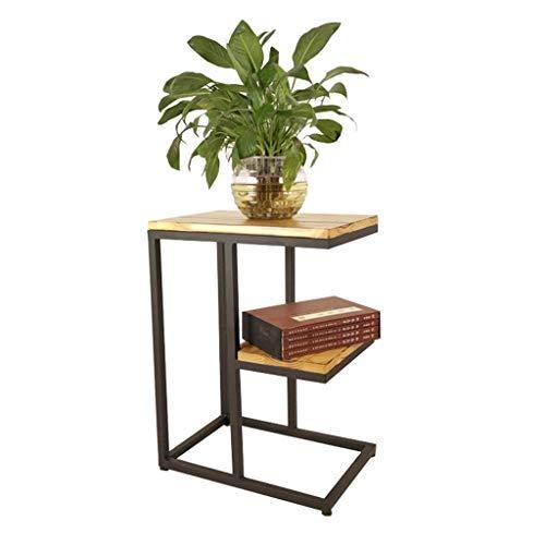 HUIYUAN massief hout smeedijzeren opslag rack salontafel eetkamer woonkamer bank tafel multifunctionele slaapkamer opbergtafel