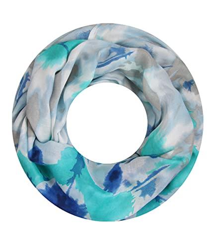 Majea Majea Damen Loop Schal viele Farben tolle Muster Schlauchschal Halstücher (blau 24)