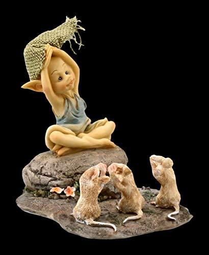 Figuren Shop GmbH Pixie Kobold Fantasy-Figur - 3 Mäuse beim Yoga | Deko-Figur, Zwerg, Gnom, Sammel-Figur, Skulptur, Statue, H 9 cm