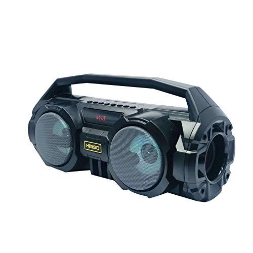2021 Bluetooth 5.0 Lautsprecher, Eingebaute 4 Lautsprecher Subwoofer 360° Stereo Sound Wasserdicht Speaker Eingebaute FM Radio mit Buntem LED-Licht für Heim, Camping, Dusche, Party, Urlaub (Grau)