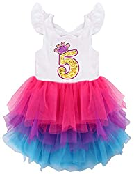 No5 White Short Sleeve Birthday Party Dress with Mesh Skirt
