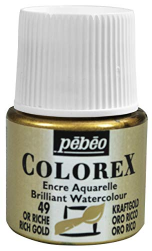 Pebeo Colorex, Watercolor Ink, 45 ml Bottle with Dropper - Rich Gold