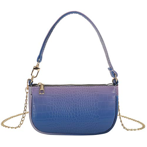 WEIQUN Diagonal bag,Handbag,Shoulder Bags,Y2k Bag,Plush bag,Fashion casual gradient color pu ladies underarm bag chain diagonal bag, Suitable For Dating, Shopping, Parties