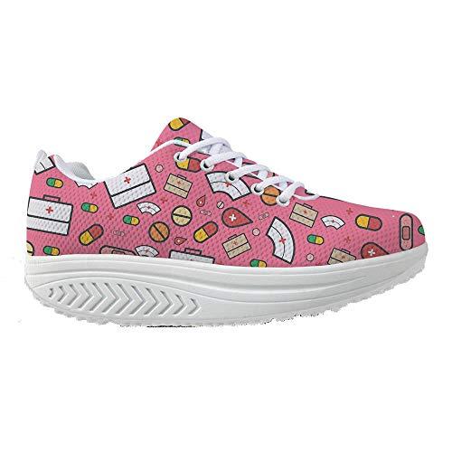 Bigcardesigns Womens Toning Fitness Walking Shoes Pink Sneaker High Platform 38