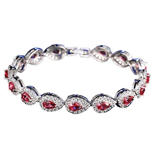 Yazilind Frauen Armband Platin überzogene hübsche wassertropfen Form zirkon armreif für Hochzeit schmuck (rot)