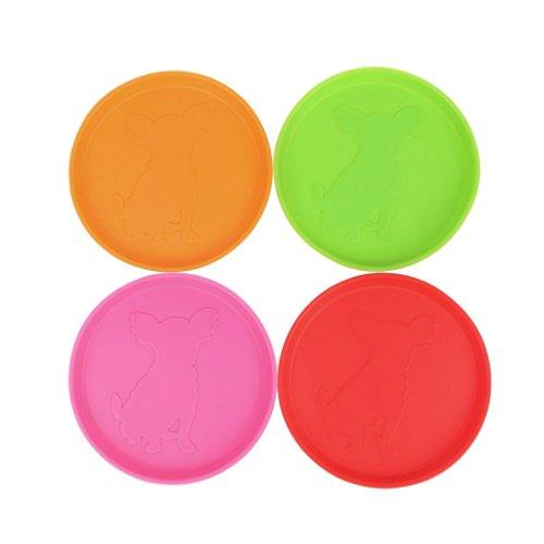 Xuniu Dog Frisbee, Outdoor Training Gummi Flying Discs Hund Interaktives Spielzeug Zahn resistent 10 cm