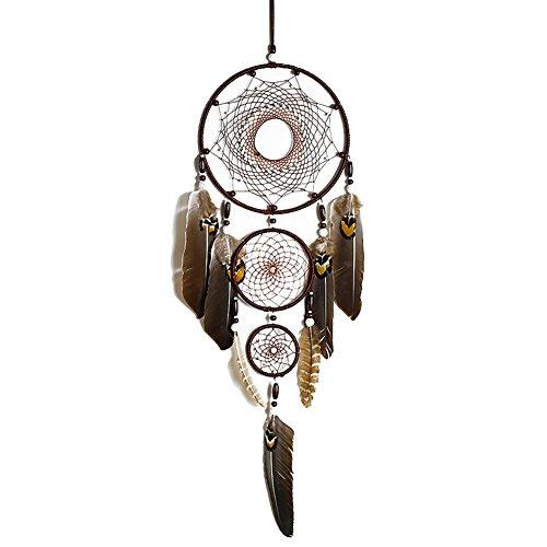 Traumfänger–Dreamcatcher Federn Dekoration Haus Wand Innen Ornament Indischen Stil Handgefertigt Hängekorb Geschenke Traumfänger klein Mädchen - Braun
