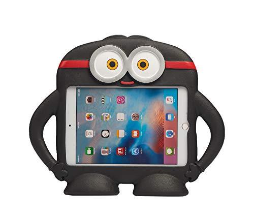 QIHANG iPad Mini Funda para niños antigolpes Silicona Goma Protectora Dibujos Animados Robot Stand Caso con Asas para Apple iPad Mini 1/Mini 2/Mini 3/Mini 4 Negro Negro