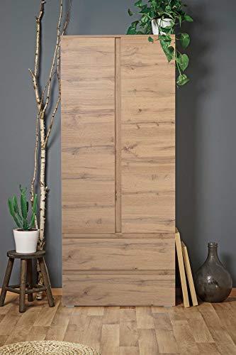 lifestyle4living Mehrzweckschrank in Honig-Eiche-Dekor mit viel Stauraum, Kleiderschrank mit 2 Türen und 2 Schubladen, Stauraumschrank B/H/T ca. 80/191/40 cm