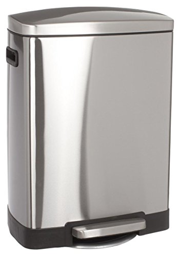JJA 133609 Poubelle 50L, Métal Inox traité anti-trace - 42,5 x30x 64,5 cm