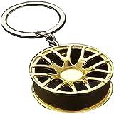 Car Wheel Keychain,Auto Wheel Rim Keychain,Automotive Parts Model Key Ring Set,Suitable As A Gift for Men. (Golden)