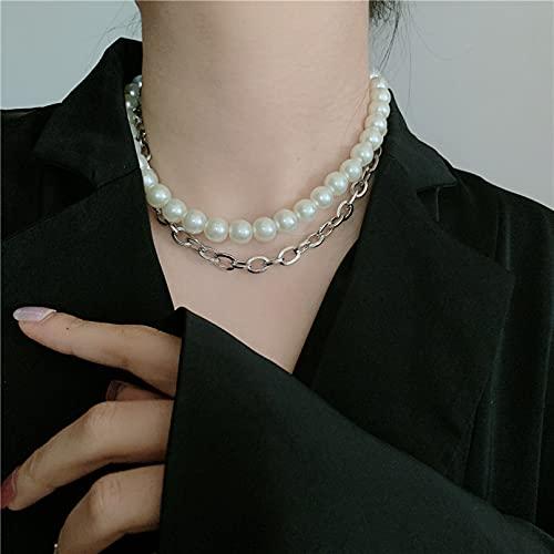 N/A Collar Collar De Cadena De Collar De Estilo Barroco Retro Francés Pulsera De Cadena De Clavícula Corta De Doble Capa Regalo Parejas Y Amigos