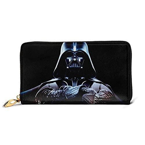 Damen Clutches Darth Vader Geldbörse blockiert Echtleder Brieftaschen Doppelreißverschluss Geldbörse Organizer Clutch Kreditkartenhalter groß