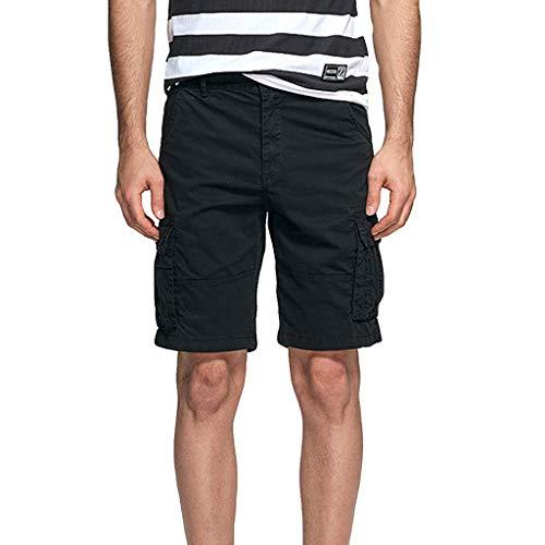 Xmiral Shorts Hose Herren Cargohose Taste Reißverschluss Overall mit Mehreren Taschen für Fitness Ball Jogger Strassenmode Badehose Strandhosen Sporthose(Schwarz,L)