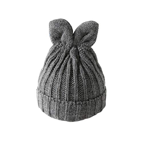 HIOD Mujer Invierno Cálido Sombreros de Punto Señoras Gorros Bonitos Gorro Niña Gorra Simple de Color Liso con Orejas,Gray