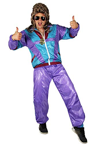 Foxxeo 80er Jahre Kostüm für Erwachsene Premium 80s Trainingsanzug Assianzug Assi - Herren Größe S-XXXXL - Fasching Karneval Anzug, Farbe Lila-türkis, Größe: XXXL