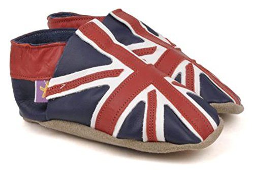 Chaussons cuir bebe enfant drapeau anglais Union Jack - made in England - (Taille Small / 0-6 mois = 11 cm)