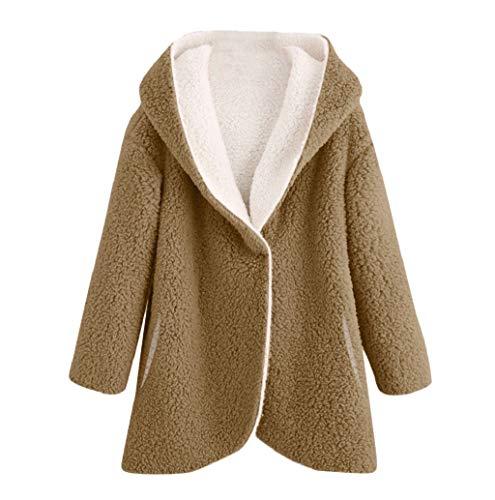 LONUPAZZ Manteau Cardigan Laine Coton Chaud Mode Femmes Poche d'hiver Ourlet Courbé Manteaux à Capuche à Manches Longues