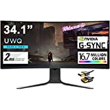 """ALIENWARE 34 Curved Premium Gaming Monitor 34.1"""" UWQHD (3440 x 1440) 120Hz Refresh Rate Nano IPS Panel 2ms Response 21:9 16.7 Million Colors Nvidia G-SYNC 178° Viewing Angle + iCarp HDMI Cable"""