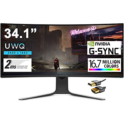 """ALIENWARE 34 Curved Premium Gaming Monitor 34.1"""" UWQHD (3440 x 1440) 120Hz Refresh Rate Nano IPS Panel 2ms Response 21:9 16.7 Million Colors Nvidia G-SYNC 178° Viewing Angle + HDMI Cable"""