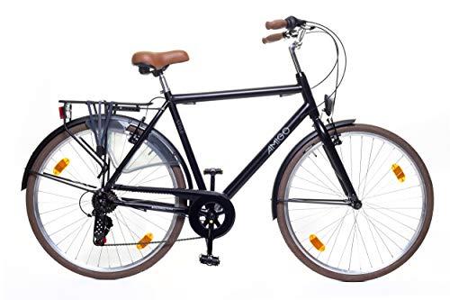 Amigo Style - Cityräder für Herren - Herrenfahrrad 28 Zoll - Geeignet ab 170-175 cm - Shimano 6 Gang-Schaltung - Citybike mit Handbremse, Beleuchtung und fahrradständer - Schwarz