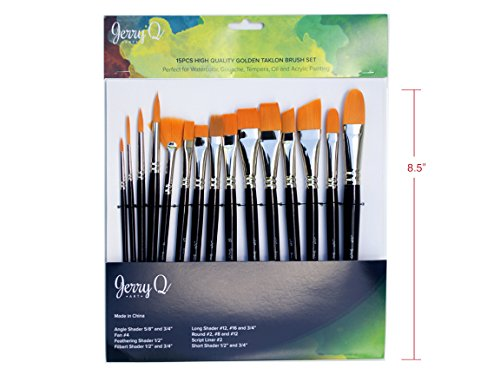 Jerry Q Art 15 pcs Golden Taklon Brush Set for Acrylic, Tempera, Watercolor, Oil Painting, Silver Ferrule with Violet Short Wooden Handles JQ151