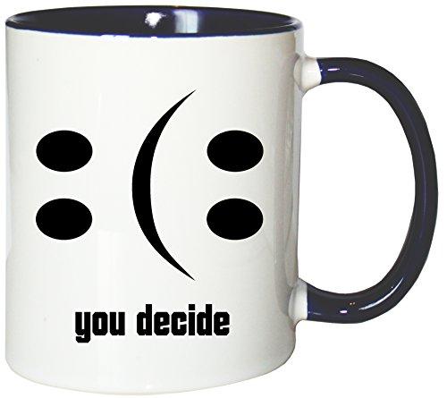 Mister Merchandise Kaffeebecher Tasse Happy or Sad Smiley Smilie Smile Glas leer halb voll halbvoll Teetasse Becher Weiß-Blau