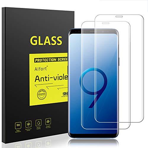 Alfort [2 Stück] Panzerglas Kompatibel Samsung Galaxy S9, 3D Rand Schutzfolie S9 Panzerfolie Volle Abdeckung Anti-Kratzen 0.26mm Dünn Displayschutzfolie für Samsung Galaxy S9 Schutzglas - Transparent