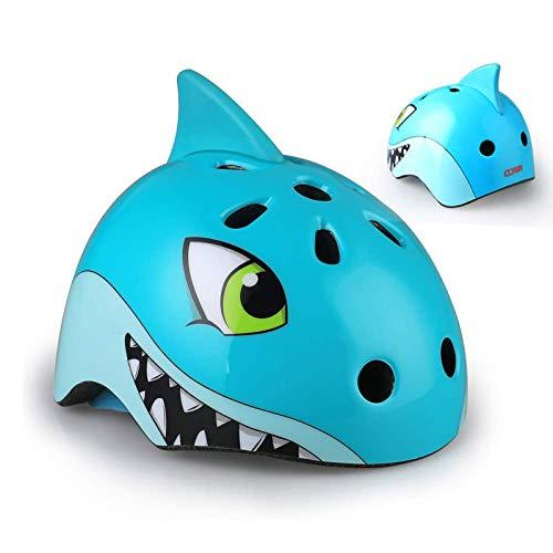 CURVEASSIST Cascos De Protección Infantil para Bicicletas Cascos para Montar Cascos Deportivos Dibujos Animados De Animales Patinaje sobre Ruedas Equipo De Protección Tiburón Fresco,Blue-M