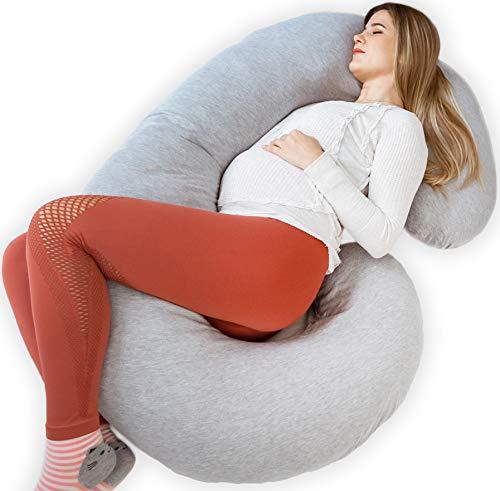 Kolbray®️ - Cuscino per Dormire in Gravidanza, il Resto mi Sembra Perfetto (Disponibile in C e U), con Rivestimento in Jersey Rimovibile, Cuscino Ortopedico per Donne Incinte o che Allattano
