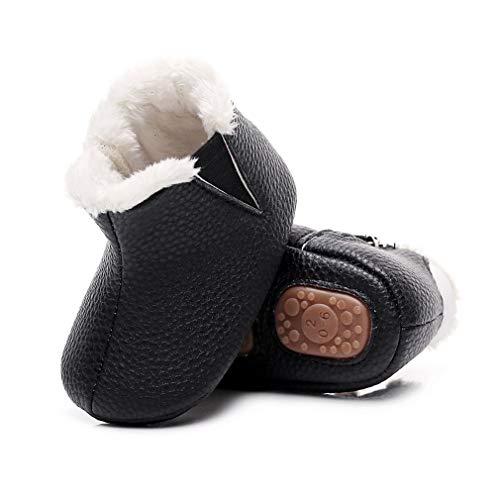 Baby Girls Boys Boots Anti-Skid Warm Winter Booties Ankle Premium Moccasins Toddler Firstwalker (0-6 Months Infant, Black)