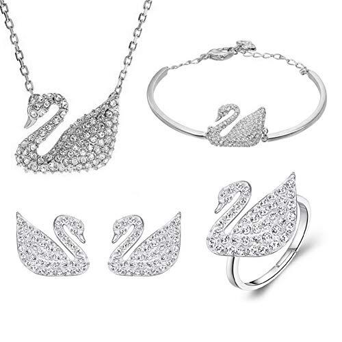 GYXYZB Zwaan Armband Ketting Oorbellen Set Zwart En Wit Volledige Diamant Counter