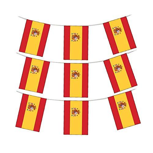 Wimpelkette mit Shatchi-Wappen Spanien, Nationalstoff, 3 m, 10 Flaggen, Rugby-Fans, Dekoration, mehrfarbig